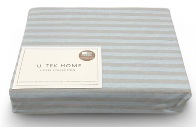Простынь на резинке U-TEK Hotel Collection Cotton Stripe Blue-Grey 30