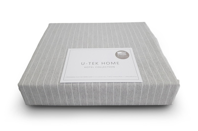 Простынь на резинке U-TEK Hotel Collection Cotton Stripe Grey-White